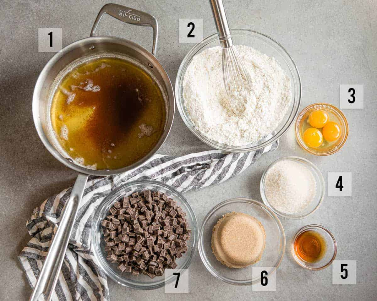 ingredients to make homemade brown butter chocolate chip cookies