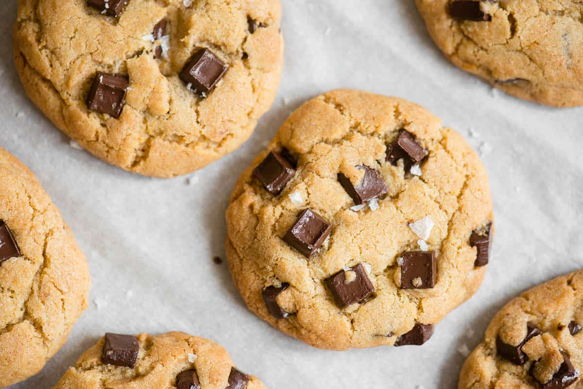 chocolate chunk cookie on white parchment paper