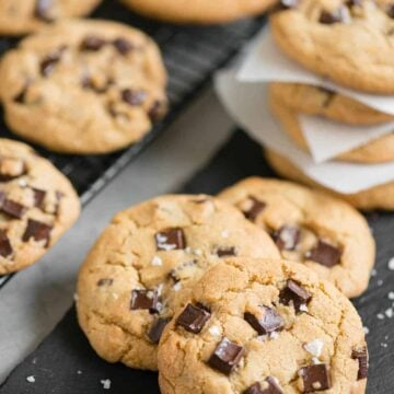 stack of brown butter chocolate chunk cookies