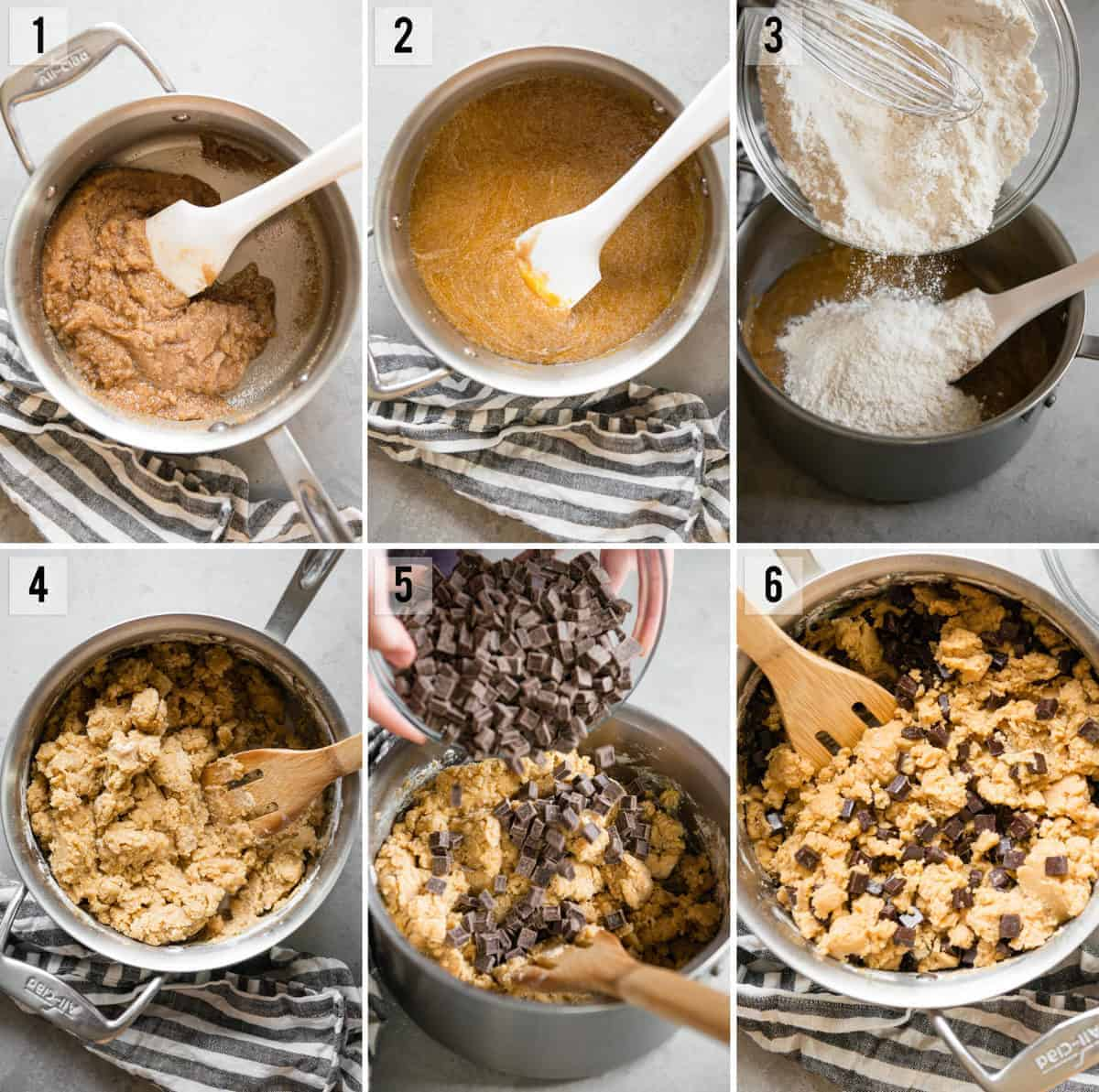 step by step process photos of how to make chocolate chip cookies