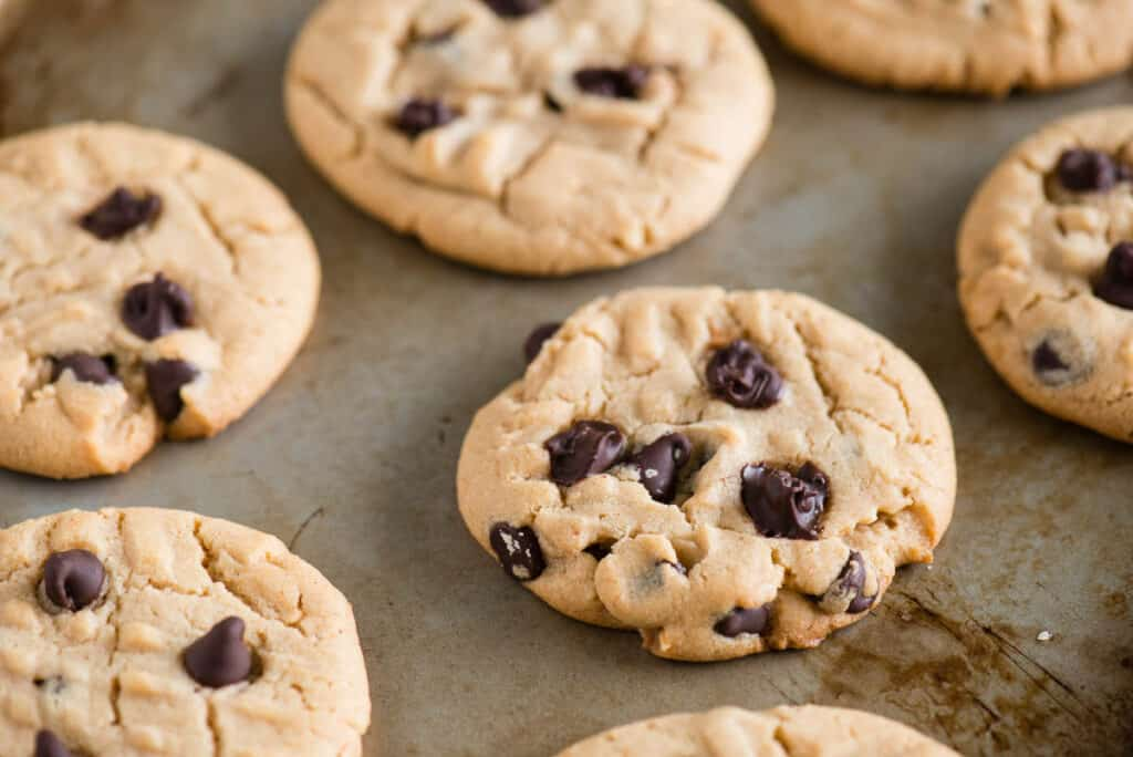 Chocolate Chip Peanut Butter Cookies on baking sheet