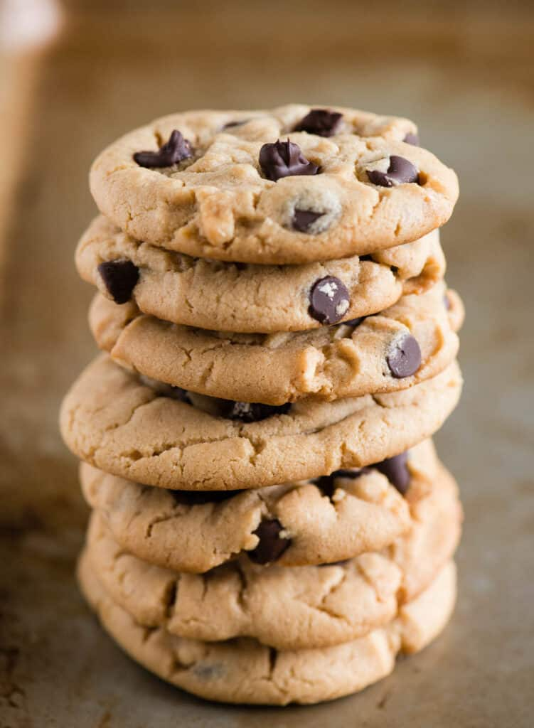 stack of peanut butter cookies with chocolate chips