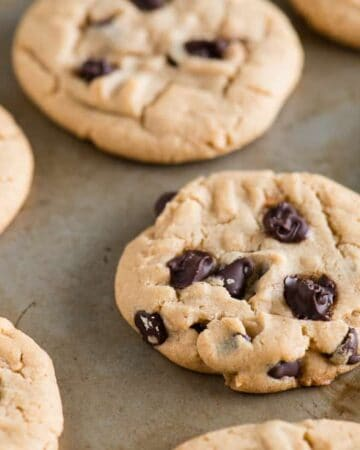 soft and chewy Chocolate Chip Peanut Butter Cookies on baking sheet