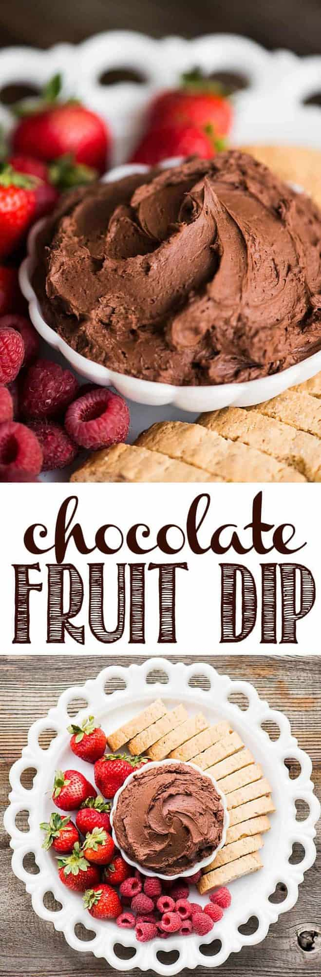 Chocolate Fruit Dip tastes like a heavenly chocolate cheesecake. It's the perfect sweet appetizer or dessert when served with cookies and fruit.