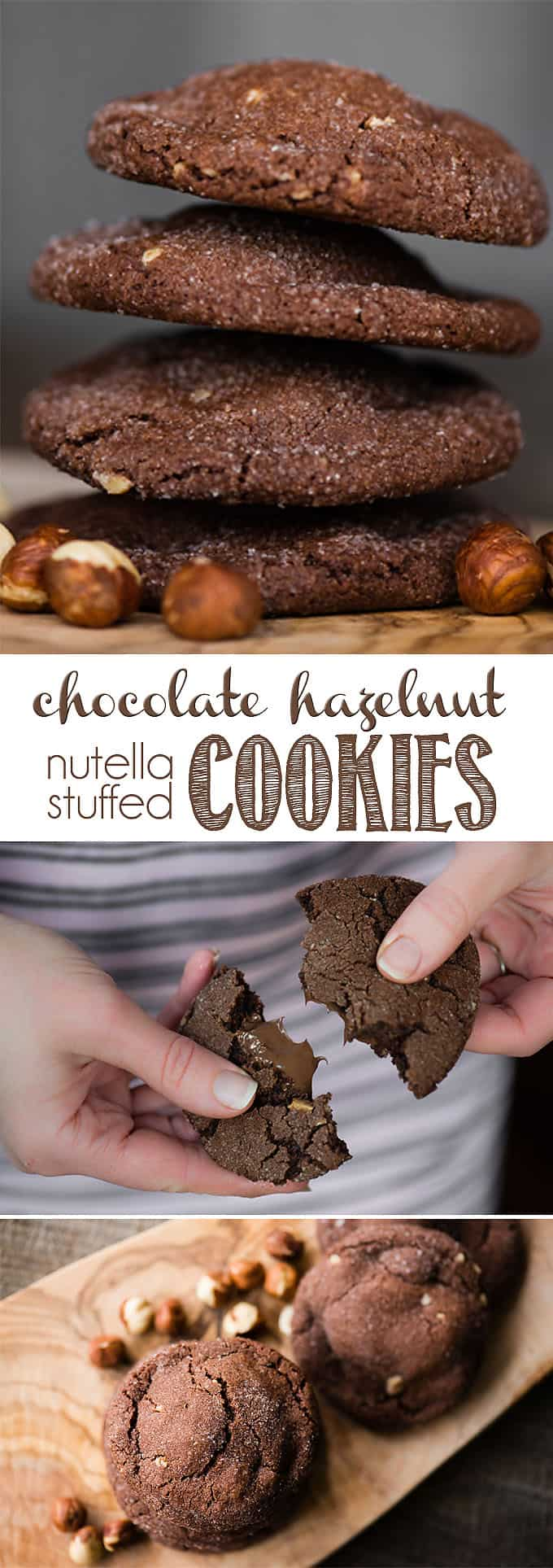 Chocolate Hazelnut Nutella Stuffed Cookies combine a homemade chewy chocolate hazelnut cookie that is wrapped around a melted mouthful of creamy Nutella. These rich and decadent cookies with a surprise in the middle are perfect any time of year, but are extra loved during the holidays. Warm or cold, they're delicious! #chocolate #hazelnut #nutella #cookies #stuffed #stuffedcookies