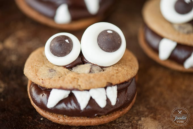 Monster cookies are the best Halloween cookies. So much chocolate!
