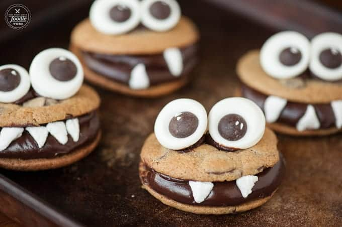 The best Halloween dessert are these Chocolate Monster Cookies made with homemade candy googly eyes, perfect chocolate chip cookies, and chocolate ganache.