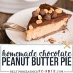 homemade chocolate peanut butter pie