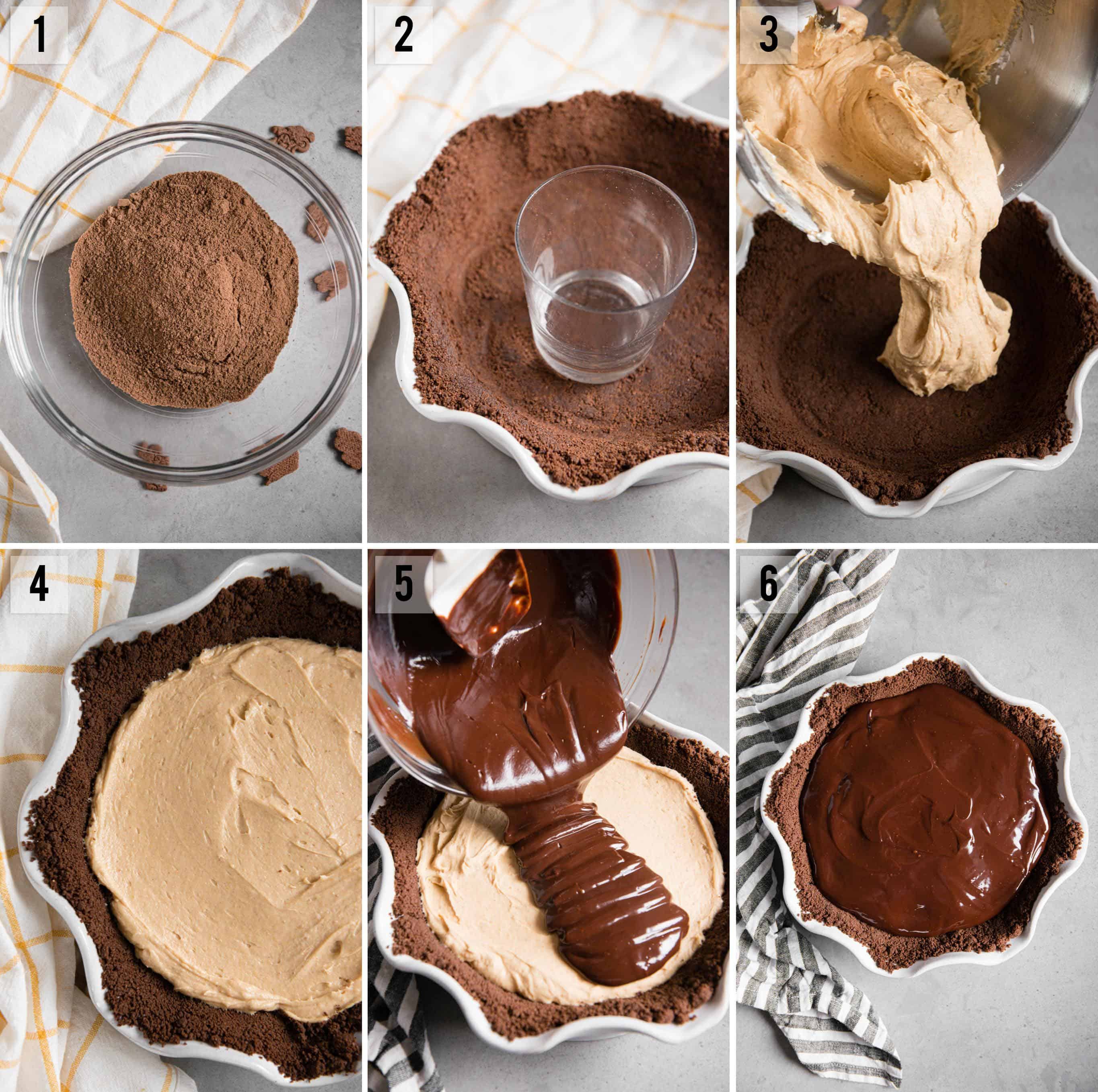 step by step photos of how to make a homemade chocolate peanut butter pie