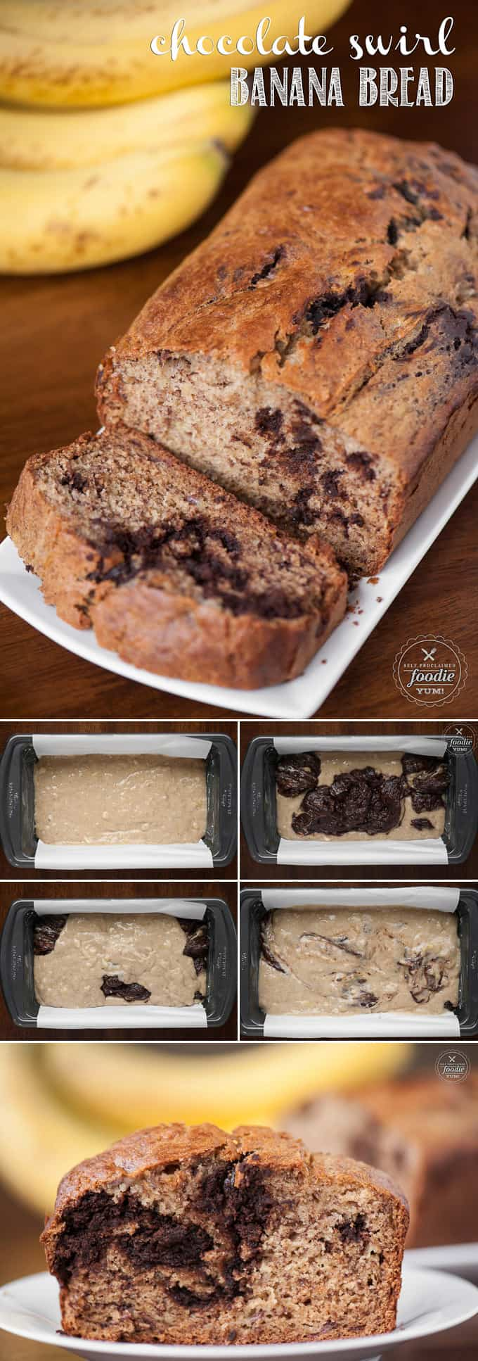 The next best thing to homemade banana bread is Chocolate Swirl Banana Bread made with melted chocolate chips. I love it with my morning coffee.