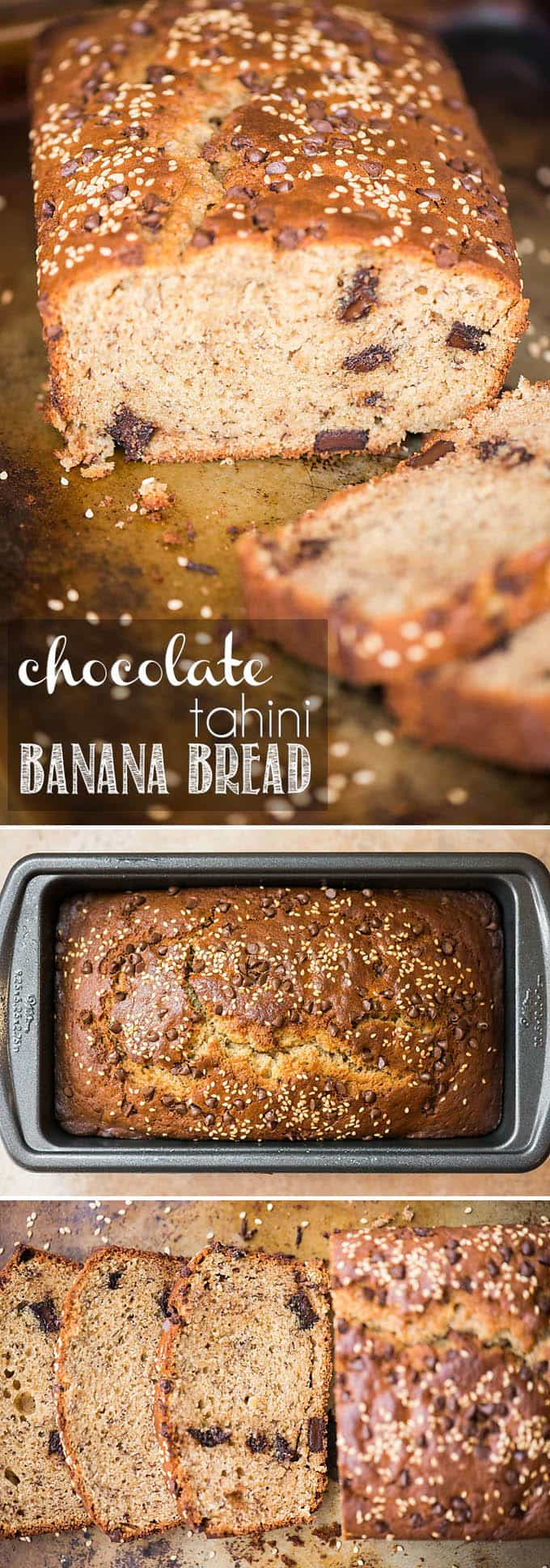 Chocolate Tahini Banana Bread combines chocolate and sesame with the sweet moistness of banana in this amazing quick bread for breakfast or a tasty snack!