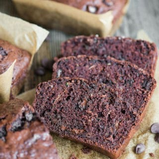 chocolate zucchini bread slices and loaf