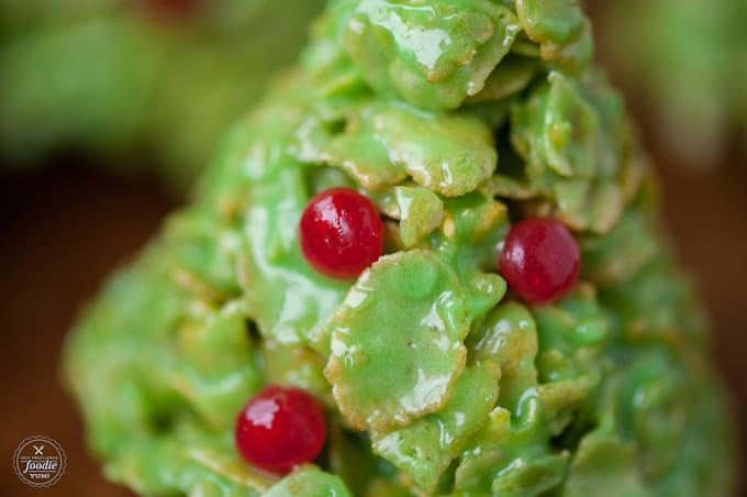 a close up of a Christmas tree corn flake treat