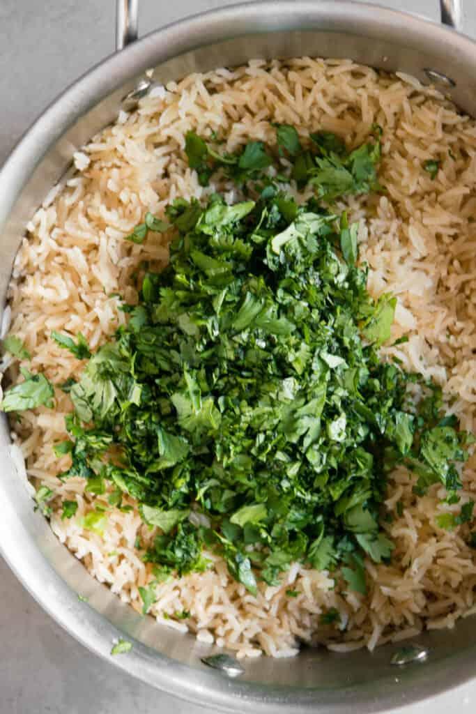 chopped fresh cilantro added to rice
