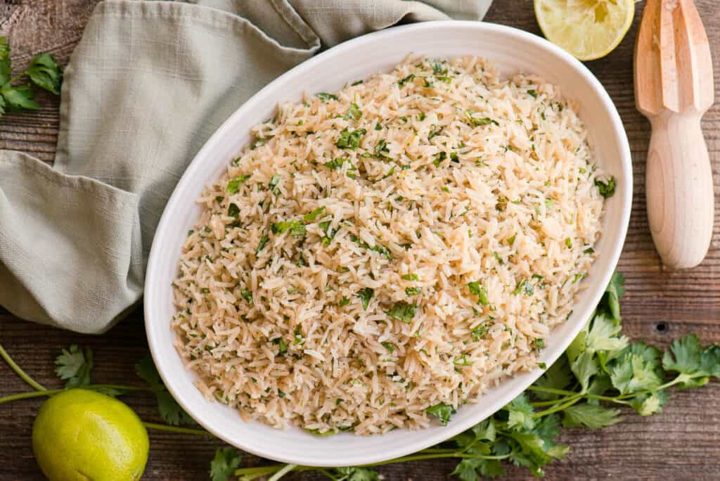 dish with cilantro and lime flavored rice