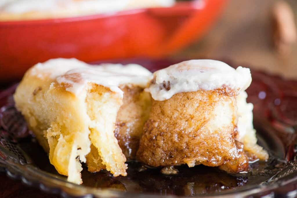 Homemade Cinnamon Roll that has been pulled open
