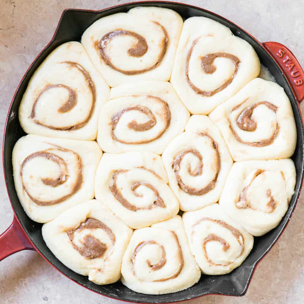 uncooked Homemade Cinnamon Rolls that have risen