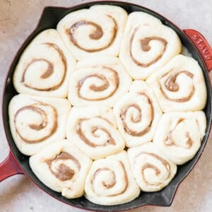 homemade cinnamon rolls after they rise