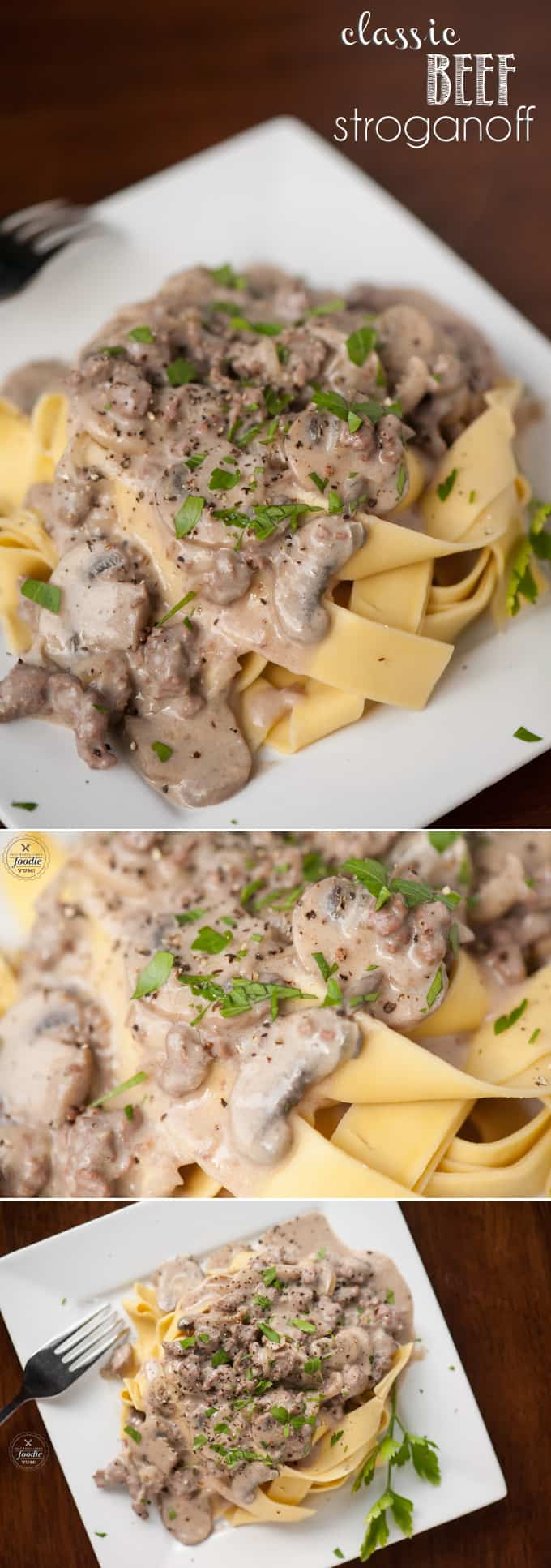 Classic Beef Stroganoff with fresh mushrooms & onion, beef sirloin steak, a creamy sour cream sauce served over egg noodles is the ultimate comfort food a family dinner time favorite!#beefstroganoff #beef #sirloinsteak #mushroom #mushroomsauce #easybeefstroganoff