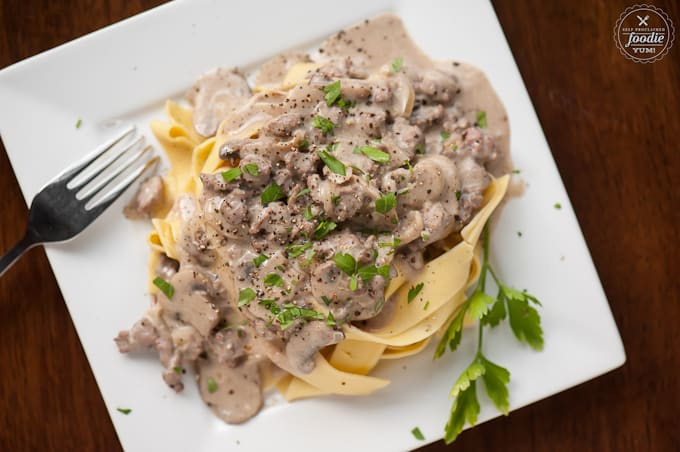 Plate of homemade beef stroganoff