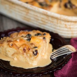 Classic Bread Pudding with Vanilla Caramel Sauce is a dessert not for the faint of heart. Made with soft brioche bread, this sweet treat is a favorite!