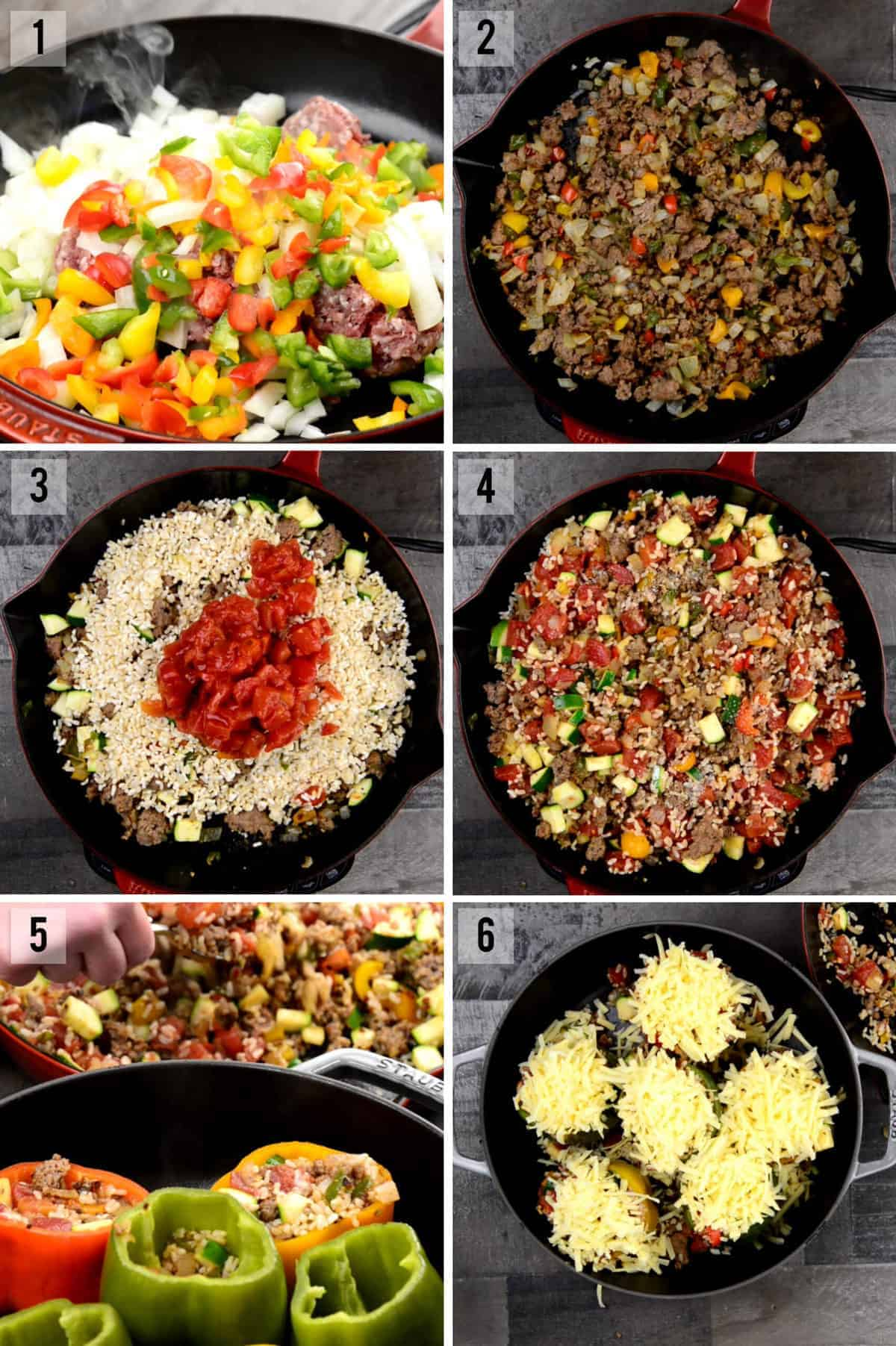step by step process photos for stuffed pepper recipe
