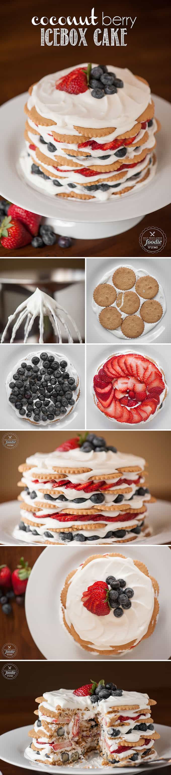 process photos for icebox cake recipe with coconut cookies and berries