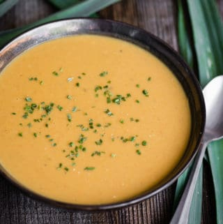 bowl of blended homemade coconut curry leek soup