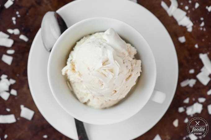 recipe for homemade Coconut Ice Creamwith toasted coconut