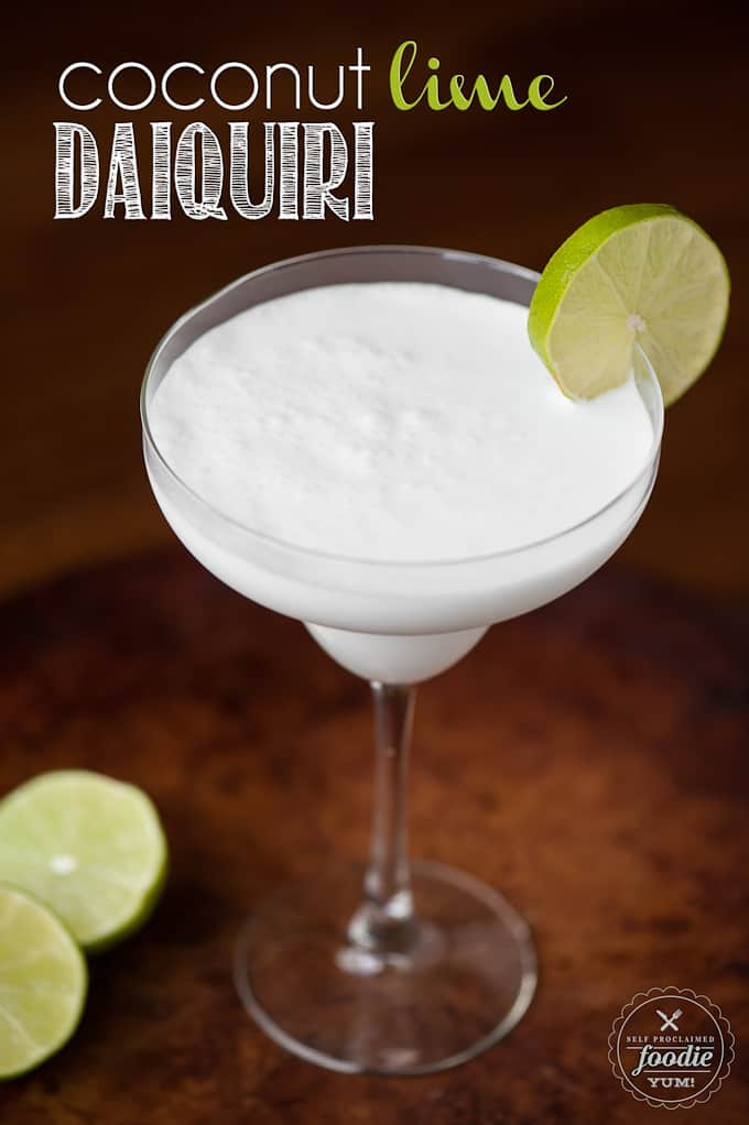 Coconut rum blended daiquiri with lime on glass