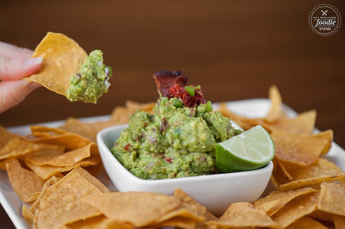 chip dipping avocado dip