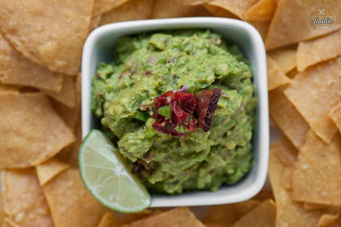 homemade guacamole with bacon