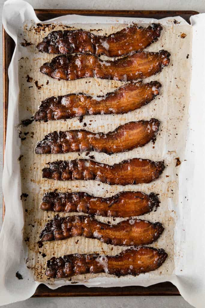 bacon that has been cooked in the oven