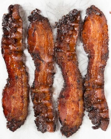 four slices of oven baked bacon