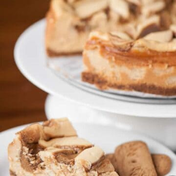a slice of cookie butter cheesecake on a plate