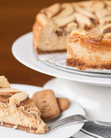 This Cookie Butter Cheesecake transforms a classic cheesecake into the most delicious dessert with a speculoos cookie crust and cookie butter swirl.