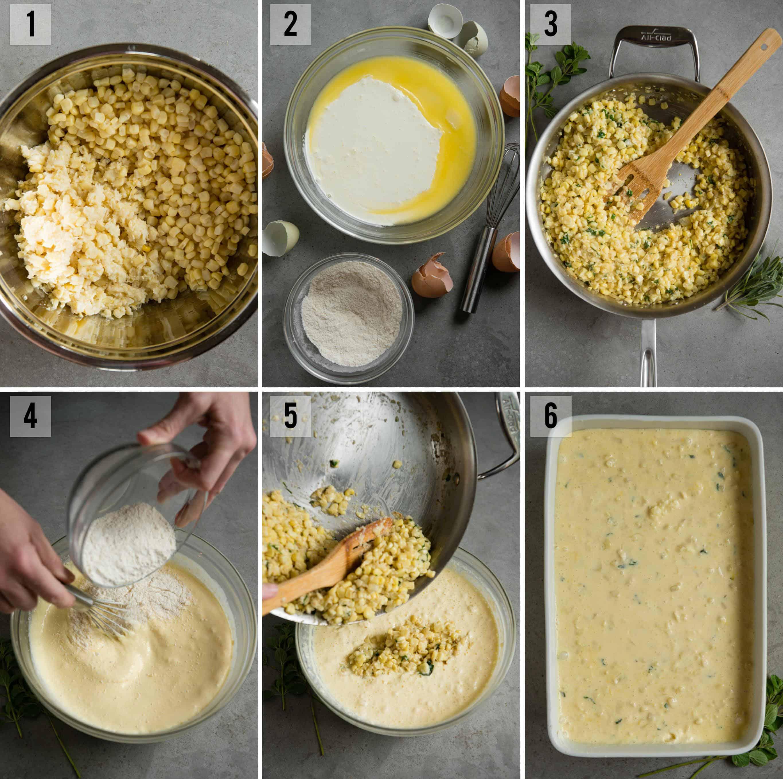 corn pudding process photos