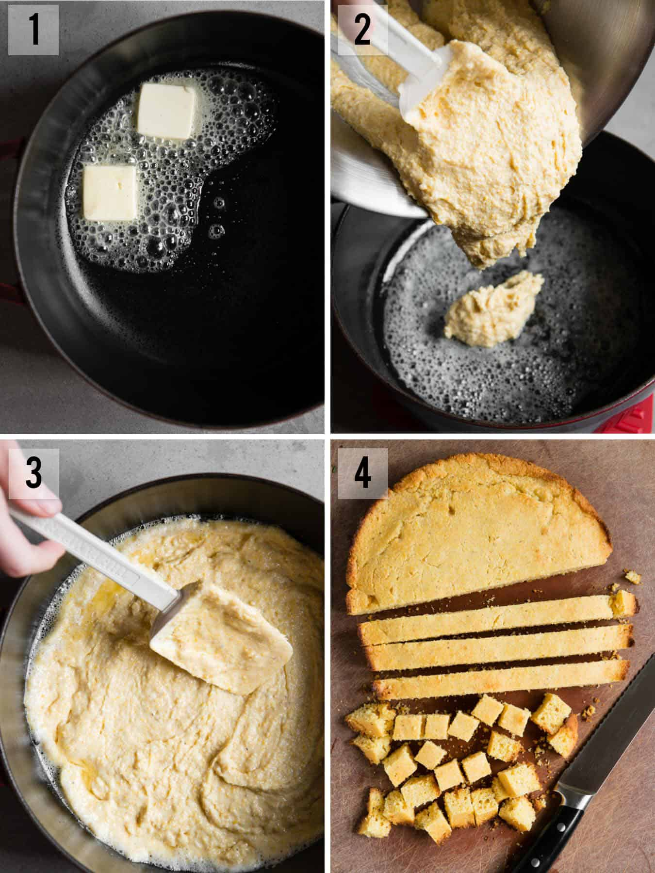 skillet cornbread recipe process photos