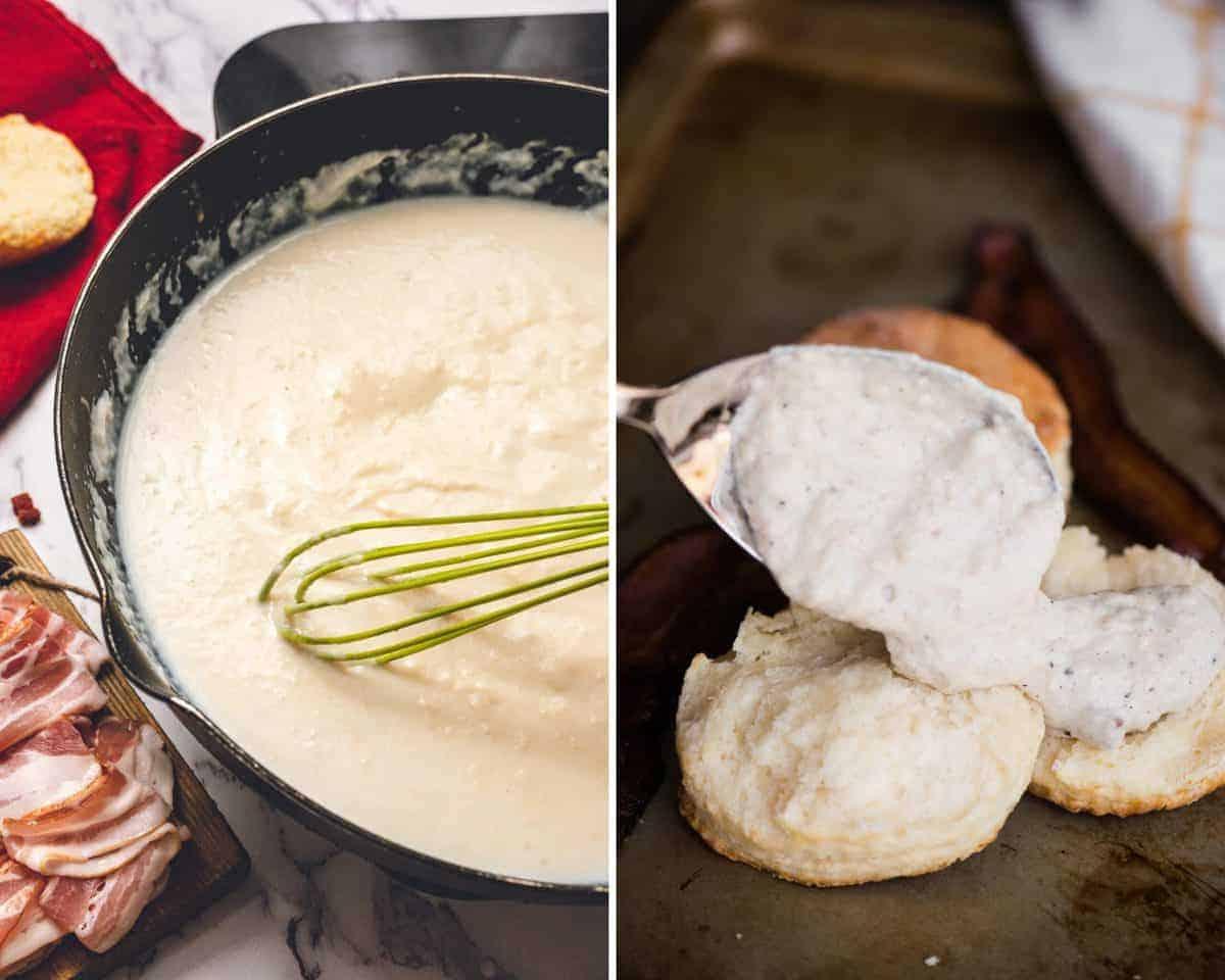process photos of how to make bacon cream gravy