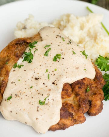 Country Fried Steak with mashed potatoes and gravy