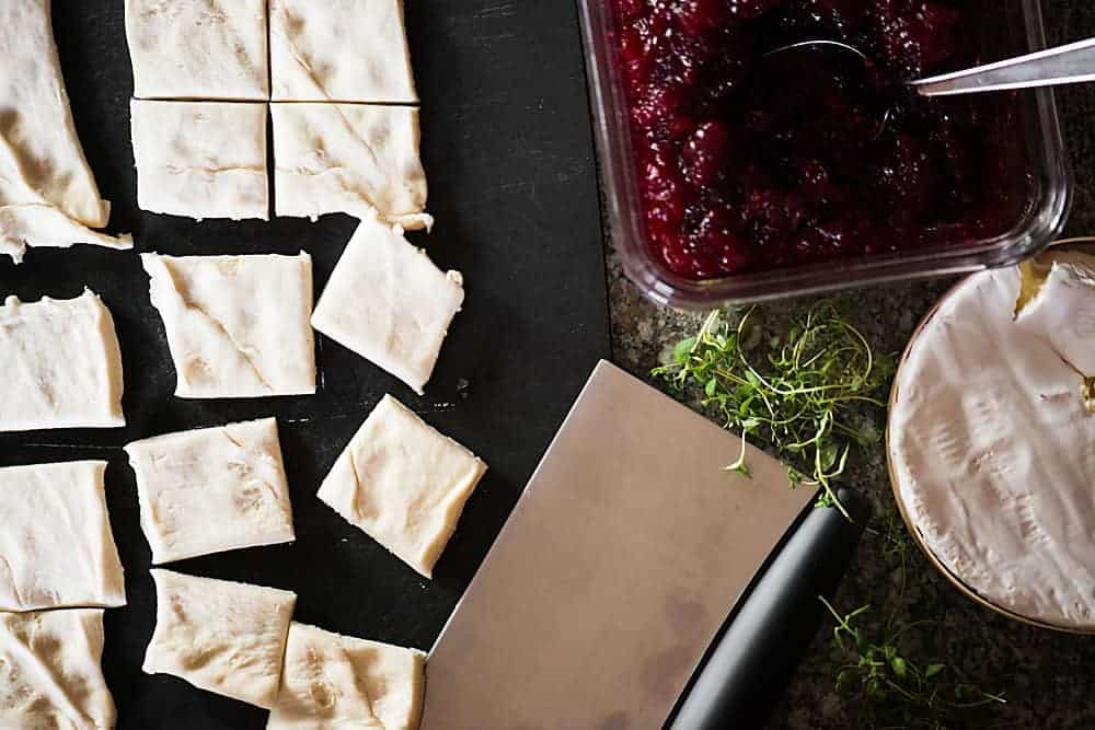Easy appetizer for holiday party with cranberry and brie.