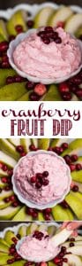Cranberry Fruit Dip, made from leftover homemade cranberry sauce and cream cheese, is the perfect party appetizer during the winter holidays. #fruitdip #cranberry #appetizer #holidays