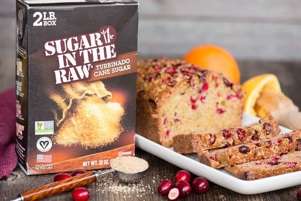 box of sugar in the raw next to cranberry bread