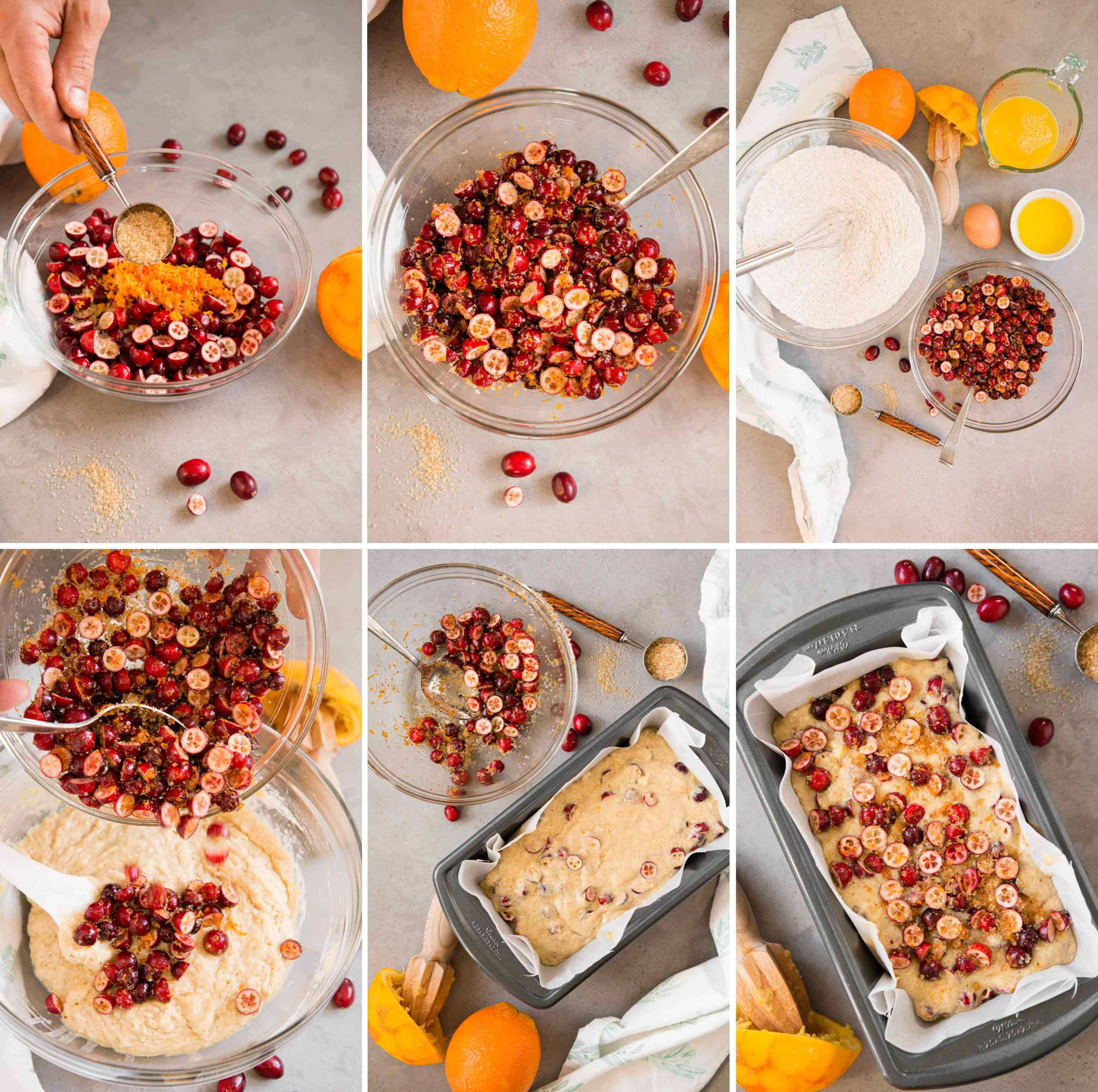 step by step process photos for how to make cranberry orange bread