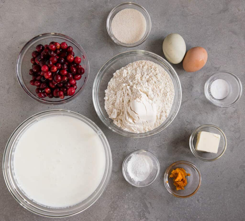ingredients to make homemade Buttermilk Pancakes with cranberries