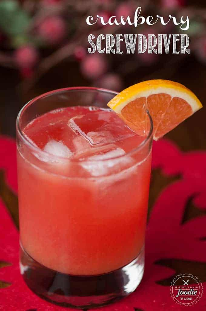 Cranberry Screwdriver with orange wedge