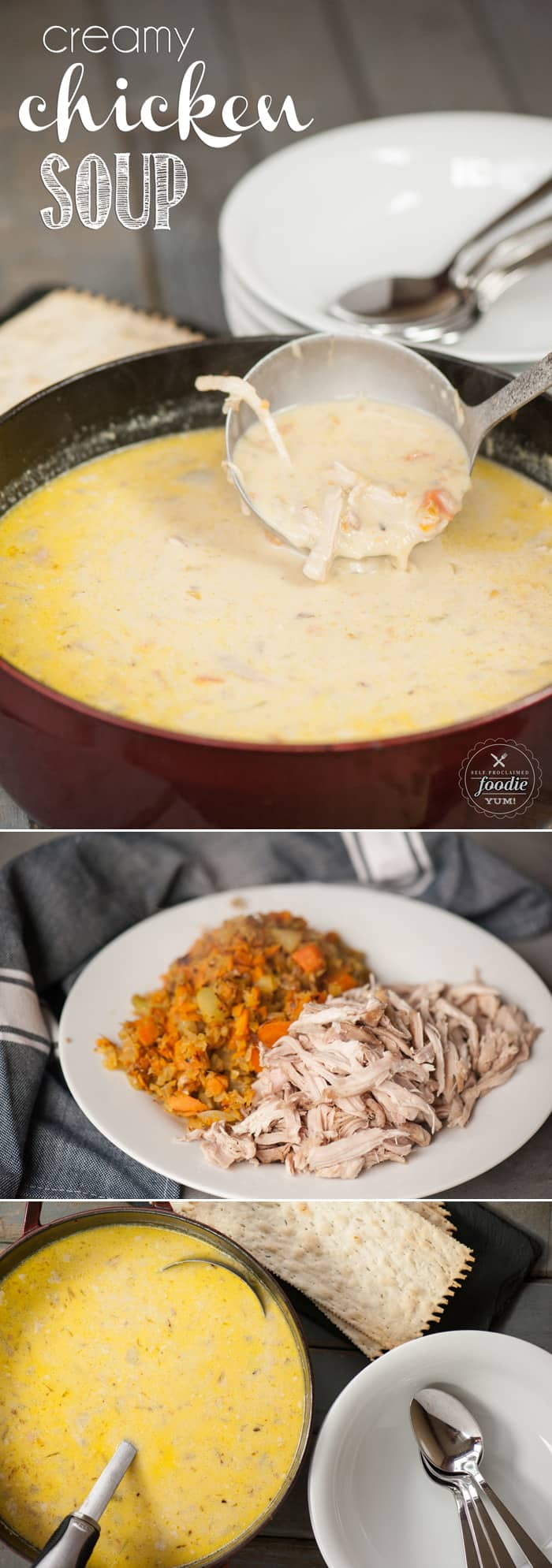 Creamy Chicken Soup is so rich, yet it is loaded with veggies and is an easy, healthy, simple chicken soup recipe your entire family will love for dinner.