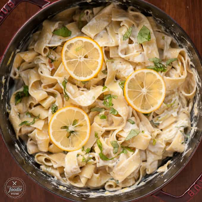Meyer lemon pasts with lemon slices on top