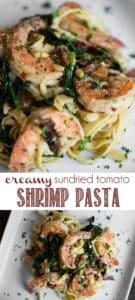 Creamy Sundried Tomato Shrimp with fettuccine alfredo Pasta Recipe