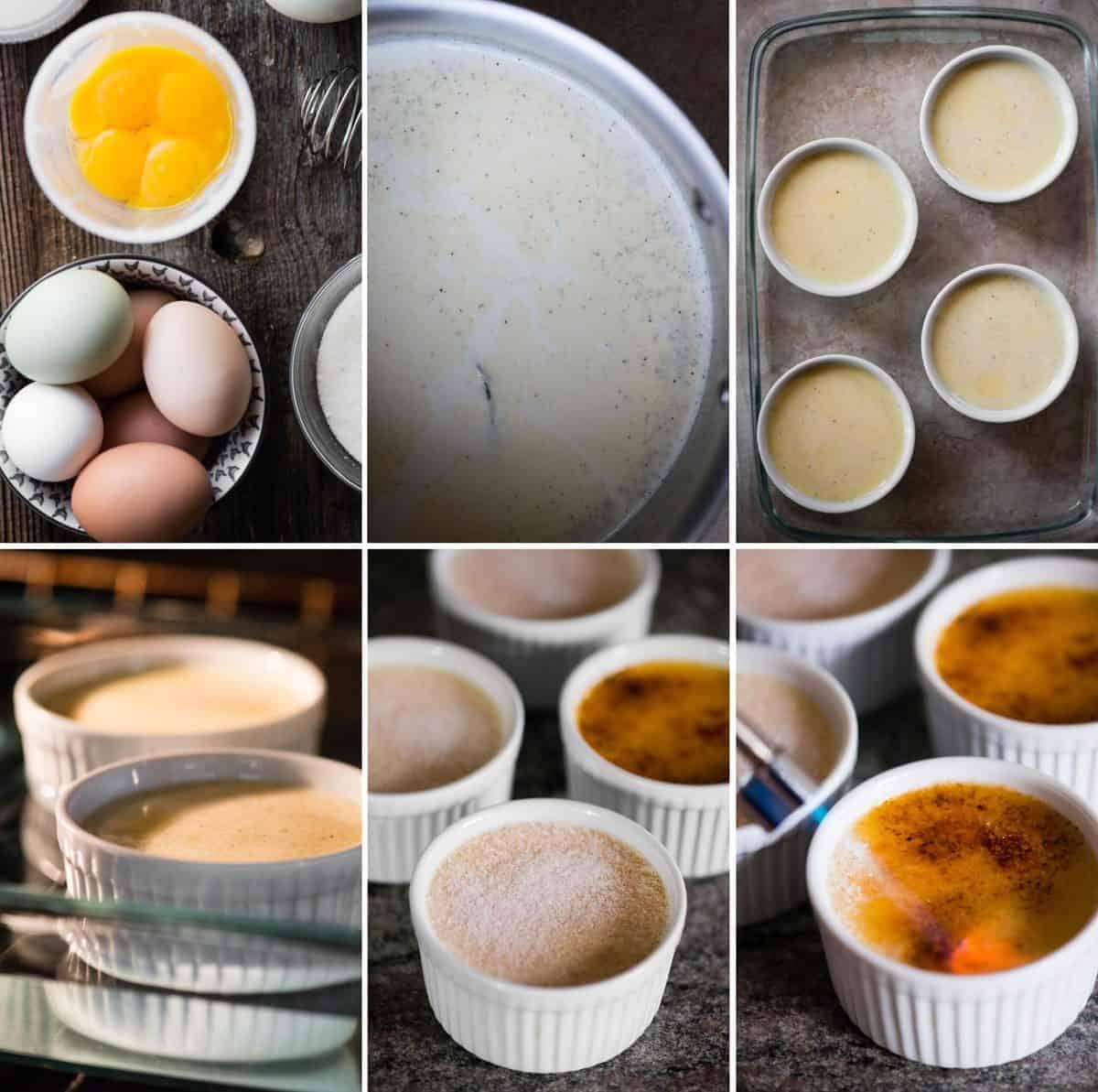 step by step photos of how to make homemade Crème Brûlée